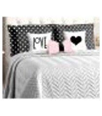 kit cobre leito cinza queen size 8 peças matelado com porta travesseiros poá preto e almofadas decorativas
