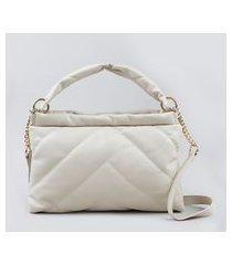bolsa feminina transversal média puffer alça com corrente off white