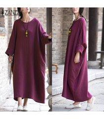 zanzea womens vintage batwing sleeve baggy kaftan pockets maxi long dress casual party solid vestido plus size (purple) -púrpura