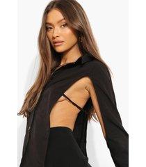 blouse met open rug en strik, black