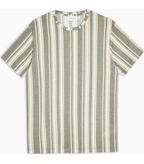 mens khaki stripe knitted t-shirt