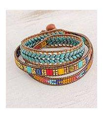 glass beaded wrap bracelet, 'country market' (guatemala)