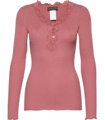 silk t-shirt ls regular w/button & t-shirts & tops long-sleeved roze rosemunde