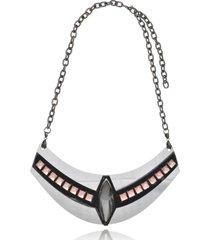 maxi colar le diamond geométrico arabesco prata - kanui