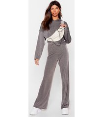 womens team talk cropped hoodie and wide-leg pants set - grey