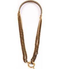 balenciaga gold tone curb chain choker necklace gold sz: