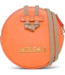 jacquemus le pitchou crossbody bag in orange leather