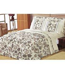 edredom queen cashmere palha com estampa flores em 3 peças - edredom + porta travesseiro - aquarela - tricae