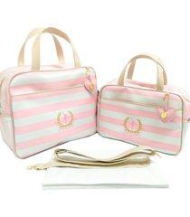 kit bolsa maternidade alinhado baby listrado rosa - 03 peças