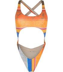 amir slama striped print eco high-leg swimsuit - multicolour