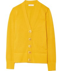 women's tory burch simone cardigan, size large - yellow