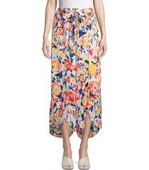 ava & aiden women's floral self-tie pants - teal ikat - size xs