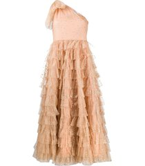 red valentino glitter heart tiered tulle dress - pink