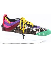 versace chain reaction multicolor animal print sneakers multicolor/animal print sz: 7.5