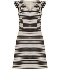 gestreepte jacquard jurk