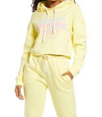 women's bp. cutoff graphic hoodie, size medium - yellow