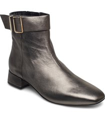 metallic square toe mid boot shoes boots ankle boots ankle boot - heel silver tommy hilfiger
