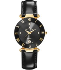 jacques du manoir ladies' black genuine leather strap with goldtone case and black dial, 33mm