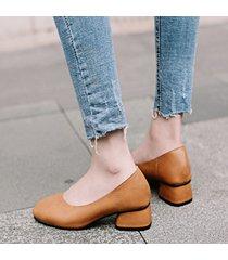 scarpe con tacco grosso vintage da donna con punta quadrata