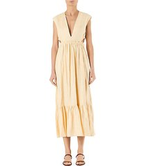 linen v-neck cutout midi dress