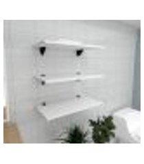 kit 3 prateleiras para banheiro em mdf suporte tucano branco 60x30cm modelo pratbnb06