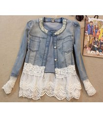 women denim coat jacket slim fit top blazer lace mesh casual outwear oversize