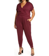 loveappella short sleeve wrap top jumpsuit, size 3x in burgundy at nordstrom