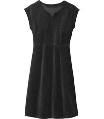 velours jurk, schwarz 46