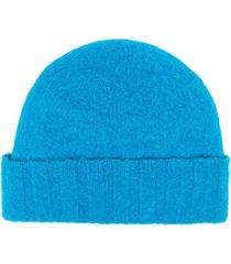 drumohr fine-knit wool beanie - blue
