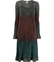 m missoni ribbed shift shimmer dress - blue