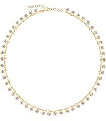 14k gold vermeil & cubic zirconia loaded bevel drop necklace
