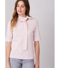 pullover met korte mouwen en hals met strik