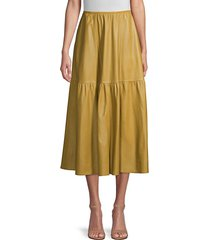 lafayette 148 new york women's safford leather skirt - seagrass - size 6