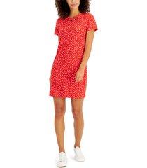 anne klein printed grommet-detail shift dress
