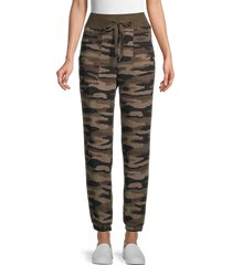 c & c california women's snow leopard-print knit pants - camo - size l