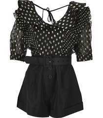 self portrait fil-coupé polka dot playsuit