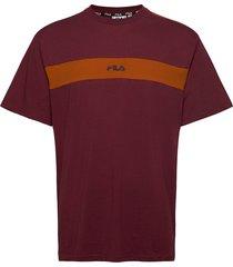 men ward dropped shoulder tee t-shirts short-sleeved röd fila