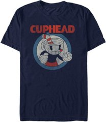 cuphead men's vintage-like circle profile cuphead short sleeve t-shirt