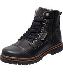 bota coturno em couro mega boots 6017 preto - preto - masculino - dafiti