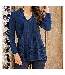 cotton blouse, 'hakoba in indigo' (india)
