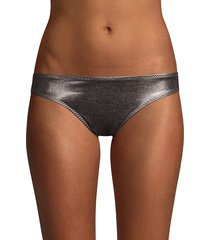 norma kamali women's side stripe metallic bikini bottoms - gunmetal - size xs