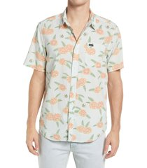 rvca luke floral print short sleeve button-up shirt, size large in green tea at nordstrom