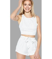 stripe pattern sleeveless crop top & belt shorts co-ord
