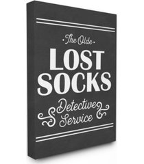 "stupell industries olde lost socks detective service canvas wall art, 16"" x 20"""