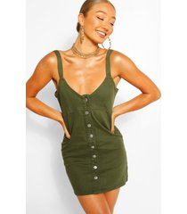 button down strappy denim dress, khaki