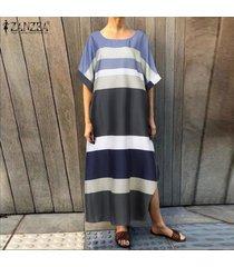 zanzea mujeres de cuello redondo remiendo largo vestido casual de las señoras vestido de corte de gran tamaño -gris