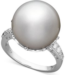 14k white gold ring, cultured south sea pearl (14mm) and diamond (1/5 ct. t.w.) ring