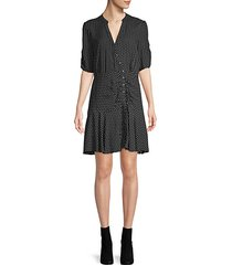 ruched dotted shift dress