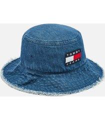 tommy jeans women's tjw heritage denim bucket hat - denim