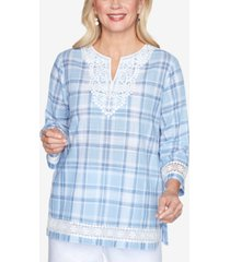 alfred dunner lace trim three-quarter sleeve plaid woven shirt